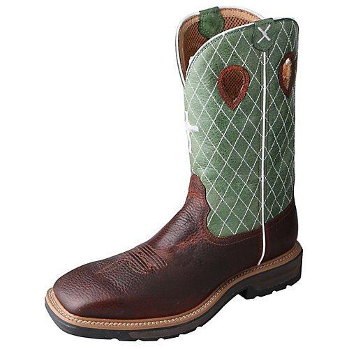 Twisted X Men#039s Lite Cowboy Cognac Glazed Pebble/Lime Boot 75 D