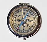Victorian Steampunk Compass Compact Mirror Vintage Antique Navigation Technology Make Up Pocket Mirror for Cosmetics