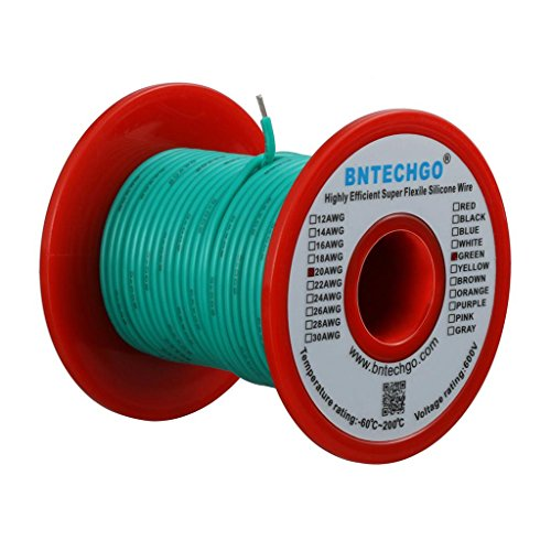 BNTECHGO 20 Gauge Silicone Wire Spool Green 50 feet Ultra Flexible High Temp 200 deg C 600V 20 AWG Silicone Rubber Wire 100 Strands of Tinned Copper Wire Stranded Wire for Model Battery Low Impedance
