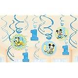 12-Piece Mickey's 1st Birthday Swirl Decorations, Multicolored