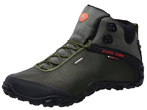 XIANG GUAN Men's Outdoor High-Top Oxford Water Resistant Trekking Hiking Boots Green 10