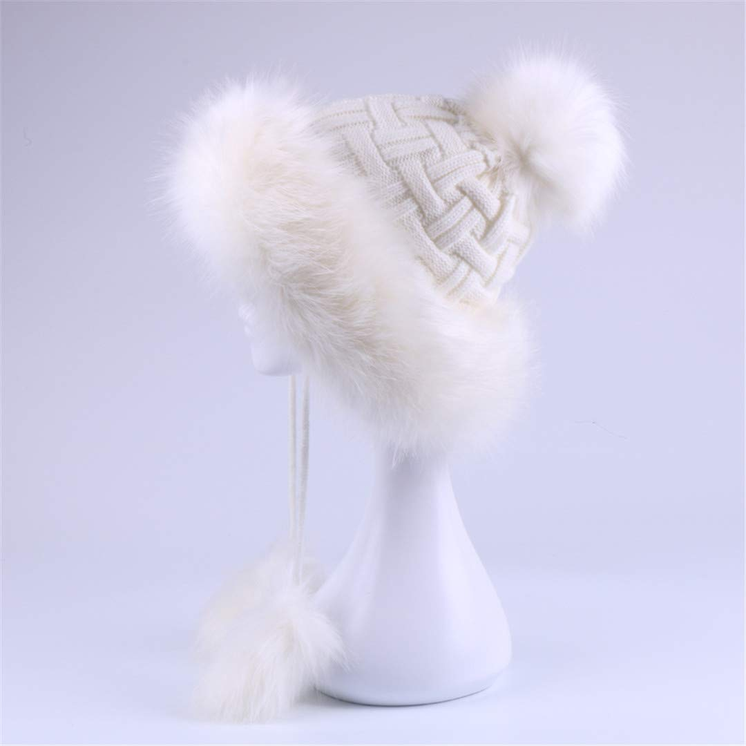 Faux Fox Fur Russain Cossack Fluffy Pompom Hats Earflap Female Winter Fleece Snow Ski Caps Cap Brown One Size DiaoPiou Action Sports Skiing