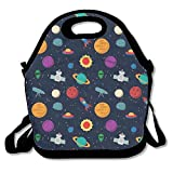 Spaceships And Planers Reusable Insulated Lunch Bag Fashion Designer Lunch Box Neoprene Lunch Tote