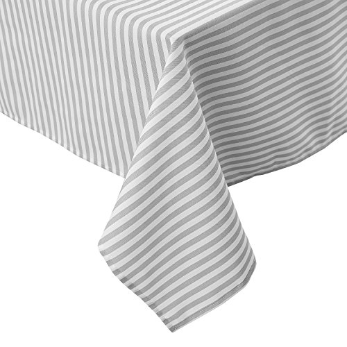 Deconovo Modern Striped Pattern Rectangular Tablecloth Water Resistant and Spill-Proof Tablecloths for Outdoor Picnic 54 x 72 Inch White and Light Grey 2 -