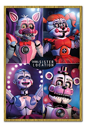 Five Nights At Freddys Sister Location Quad Poster Magnetic Notice Board Oak Framed - 96.5 x 66 cms (Approx 38 x 26 - Quad Oak
