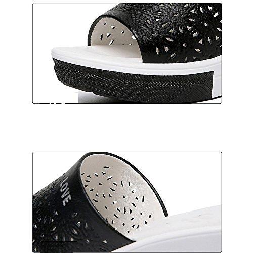 de Color Verano Alto Tamaño Femenina el Tacón Fuentes Uso 40 Opcional Zapatillas con de de de GYHDDP Colores 2 y Pendiente Opcional Frescas Tamaño Negro Aqx1PpE