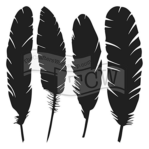 The Crafter's Workshop Set of 2 Stencils - Four Feathers - 12x12 Large and 6x6 inch Mini - Includes 1 each TCW716 and TCW716s - Bundle 2 Items
