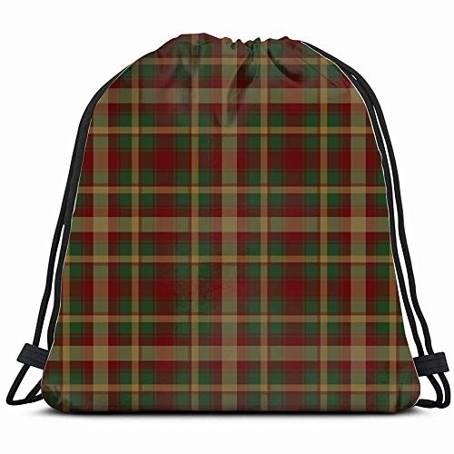 Canada Maple Leaf Tartan Abstract Vintage Drawstring Bag Backpack Gym Dance Bag Reversible Flip Sequin Bling Backpack For Hiking Beach Travel Bags