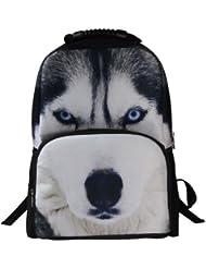Animal Face 3D Animals Wolf Husky Backpack 3D Deep Stereographic Felt Fabric