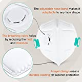 Disposable Dust Masks for face - NIOSH Certified - Safety N95 Respirator Mask with breathing valve (15 pack) | Multi-Layer Protection