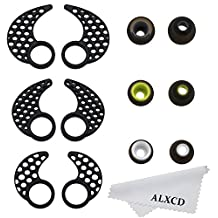 ALXCD Earhook Ear Gel Ear Piece for Jaybird Bluebud X X2, 3 Pair SML Black Anti-Slip Durable Soft Silicone Replacement Ear Hook Fin & Ear Tip Earpad, Fit for Jaybird Bluebud X2 X [Black-SML](3 Pair)