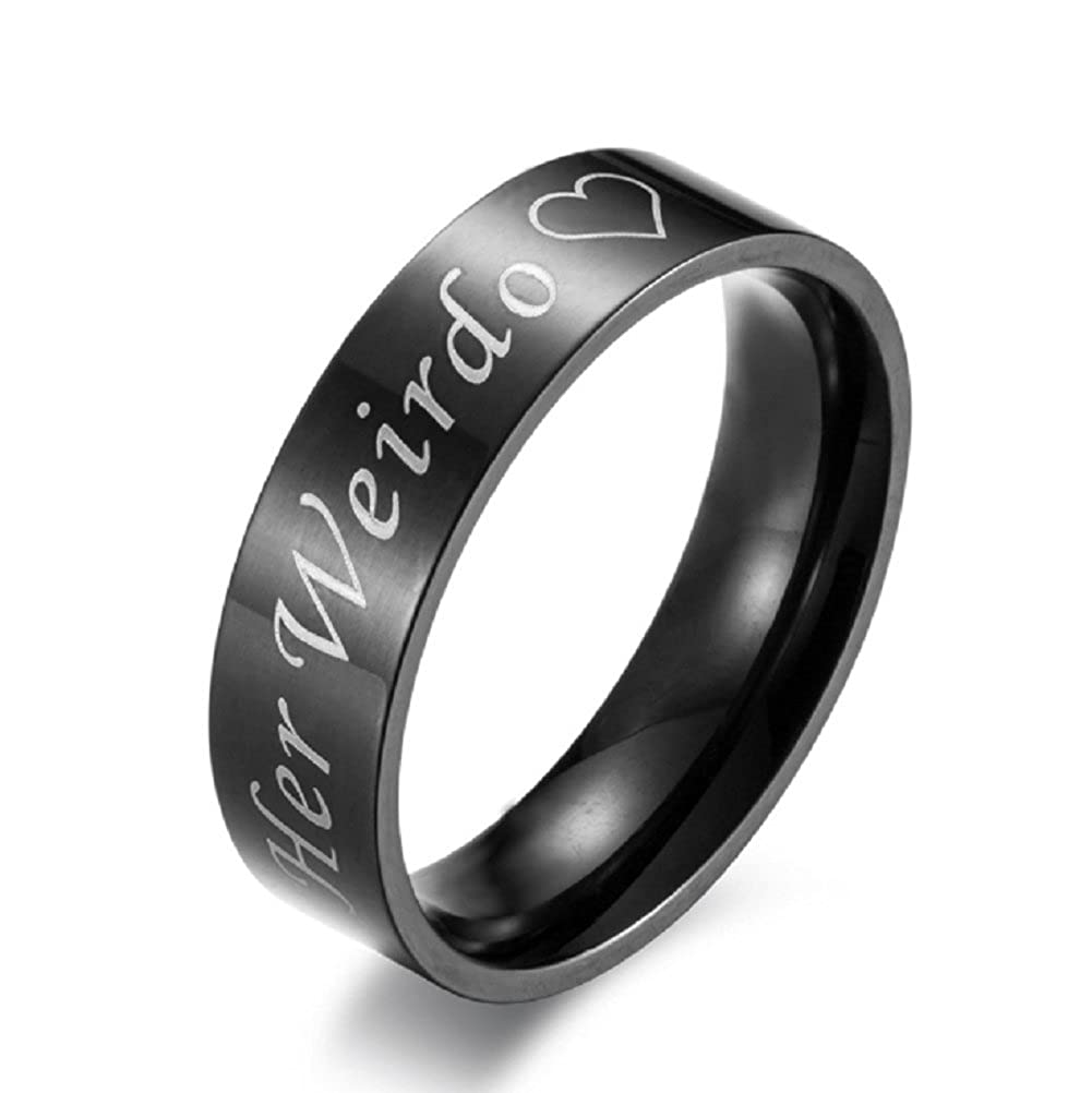 His Crazy/Her Weirdo Heart Ring Black Stainless Steel Engagement Wedding Band for Women Men Couple Valentine Day Gifts Blowin BW21P10001R11