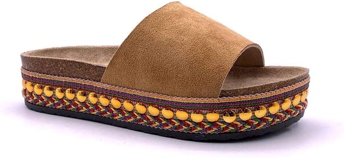 Sandalias Planas Verano Mujer Estilo Bohemia Zapatos para Mujer de Dedo Sandalias Talla Grande Cinta Elástica Casuales de Playa Chanclas Romanas de Mujer 2019 Rhinestone de Moda