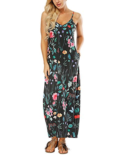 Noir Casual Camisole Sundress AnyuA Smocke Fluide Bohme Femmes Sans Robe Maxi Manches xZXqPH7