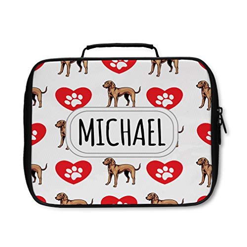 Nylon Insulated Lunch Box Custom Vizsla Dog Heart Paws Pattern adults Food Bag