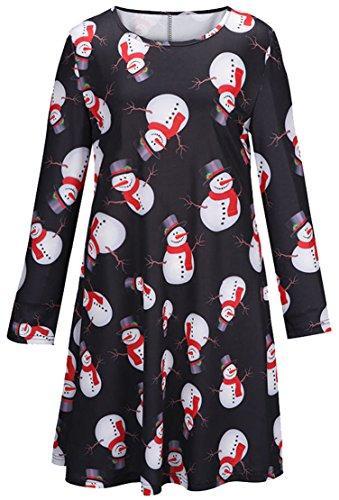 U-shot Lady de manga larga muñeco de nieve Impreso novedad Navidad fiesta acampanado Vestido negro