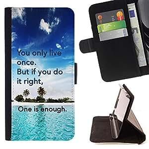 - IT RIGHT ONLY ENOUGH DO ONCE LIVE - - Prima caja de la PU billetera de cuero con ranuras para tarjetas, efectivo desmontable correa para l Funny HouseFOR Samsung Galaxy S5 Mini, SM-G800
