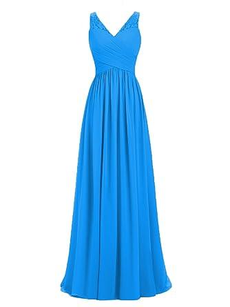 12b1debfaa1f A-line V-Neck Chiffon Long Empire Bridesmaid Dresses Simple Prom Dresses  (US2