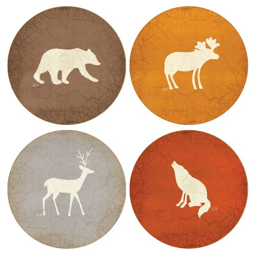 CoasterStone AS9095 Absorbent Coasters, 4-1/4-Inch, Adirondack Bear Moose Deer Wolf, Set of 4
