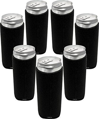 Neoprene Slim Can Sleeves - Fits 12 oz Slim Energy Drink & Beer Cans | Pack of 7 Black Slim Can Covers by Impirilux (7, Black)