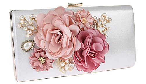 EPLAZA Women Large Capacity Flora Evening Party Bags Clutch Purse Vintage Wedding Handbags Wallet (White)