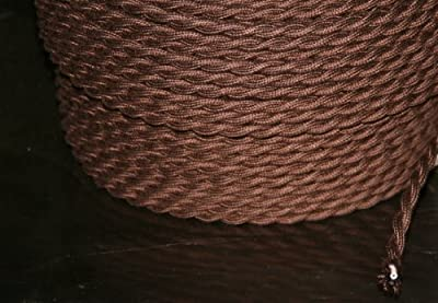 Brown Twisted 18/2 Cloth Cord - 25' Antique Wire - 18/2 Vintage Style Cloth Cord