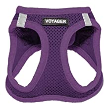 "Voyager Step-in Air Dog Harness - All Weather Mesh, Step in Vest Harness for Small and Medium Dogs by Best Pet Supplies, Purple (Matching Trim), M (Chest: 16-18"") (207-PPW-M)"