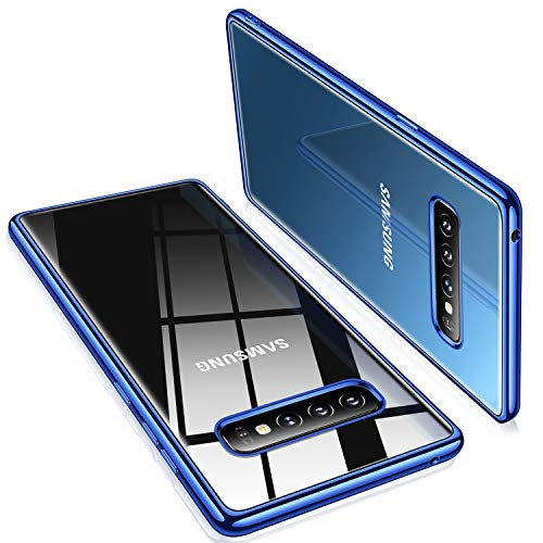 Crystal Clear Blue Case - TORRAS Crystal Clear Galaxy S10+ Plus case 6.4 inch, Ultra Thin Slim Fit Case with Electroplated Edge Soft TPU Cover for Samsung Galaxy S10 Plus, Glossy Blue