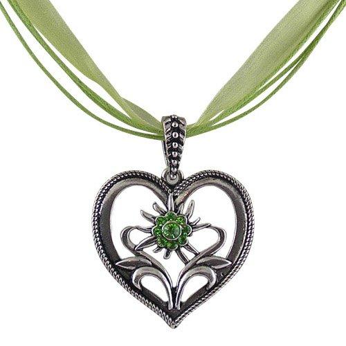 Rustikale Trachtenschmuck Dirndl Herz Edelweiss Anhänger-Kette mit Peridot grünen Strasskristallen