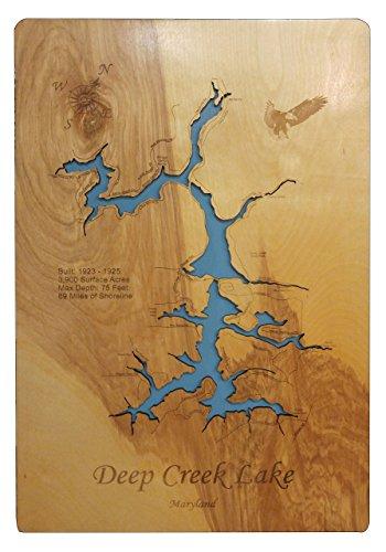 Deep Creek Lake Maryland: Standout Wood Map Wall Hanging ()
