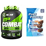 Combat 100% Whey Protein Powder, Cookies 'N' Cream, 5 lbs + Pure Protein Bars (21 Count, 1,76 oz)