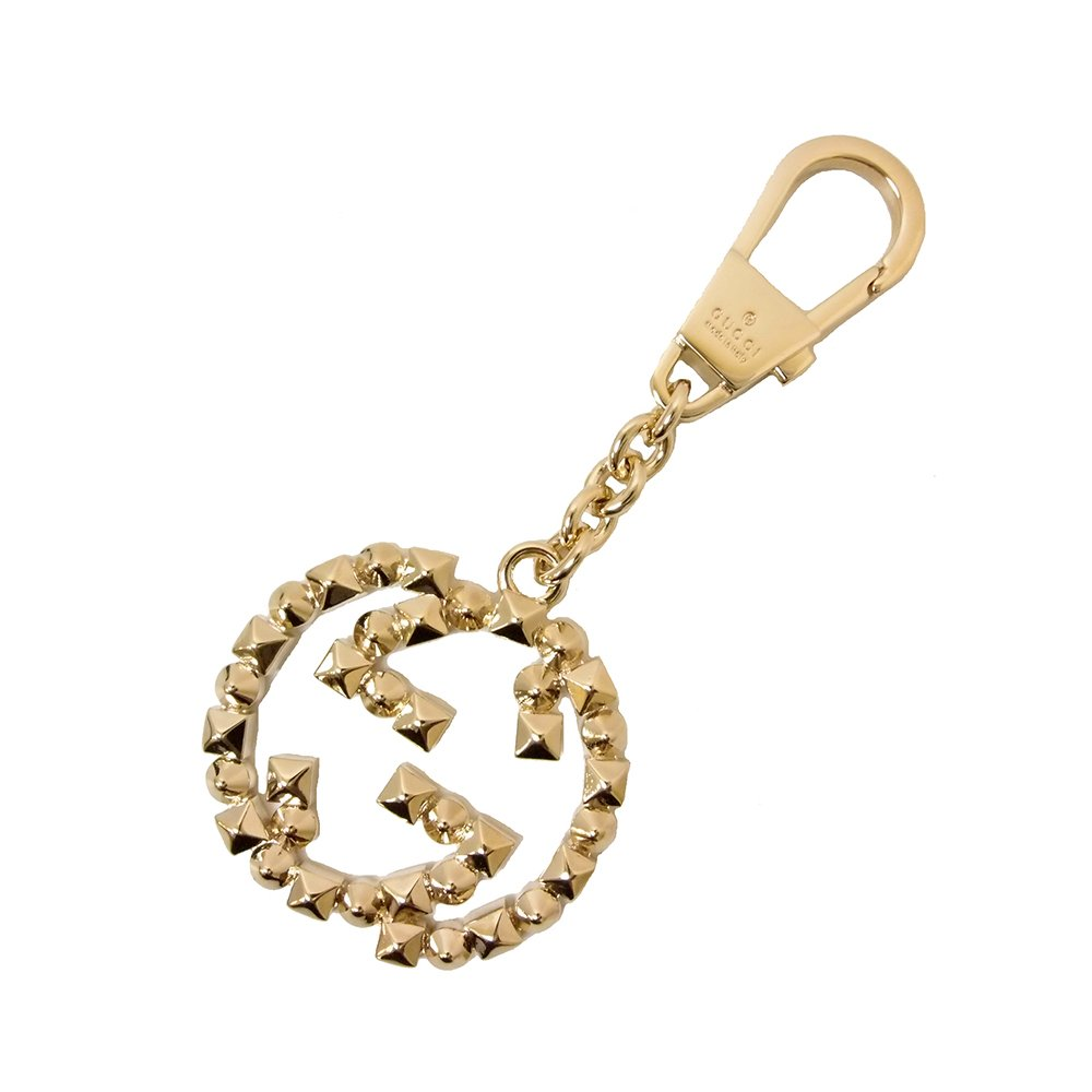 Gucci Interlocking GG Spiked Brass Gold Ring Charm Key 388389 0953