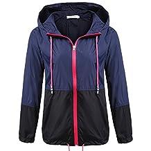 Meaneor Women's Waterproof Raincoat Outdoor Hooded Rain Jacket Windbreaker (S-XXL)