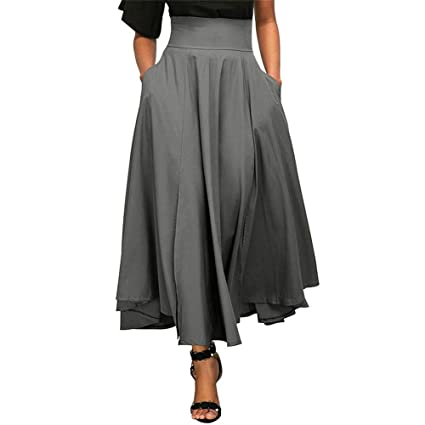 95202236c6c01 Amazon.com: Cary-Yan Women Skirt High Waist Pleated Skirt Side Slit ...