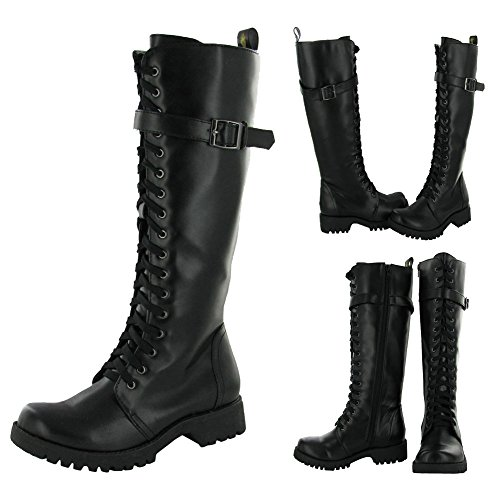 Volatile Combat Womens Boot Knee High Buckle Shoes