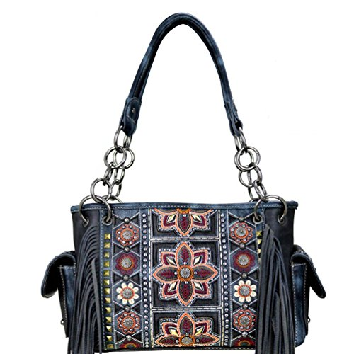 MW400G-8085 Montana West Concealed Handgun Collection Satchel-Black - Concho Collection
