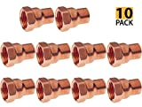 PROCURU 3/4-Inch Copper Female Adapter CxF, Professional Grade, NSF Lead Free Certified (0.75 Inch (3/4''), 10-Pack)