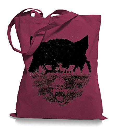 Wolf Forrest Stoffbeutel |Rettet die Wölfe Tragetasche Cranberry v7yMnQR7jh