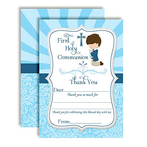 First Holy Communion Religious Thank You Notes for Boys, Ten 4