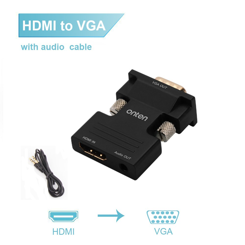 HDMI to VGA, Onten Active HDMI Female to VGA Male Adapter with 3.5mm Jack for TV Stick, TV Box, Laptop, Desktop, Digital Camera-Black