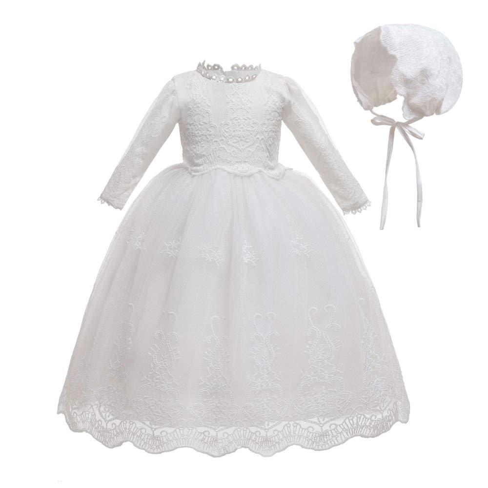 Vestido de Bautismo Encaje Fiesta Boda Manga Larga Cumplea/ños Princesa Falda Bmeigo Vestido de Bautizo para Bebe Ni/ña