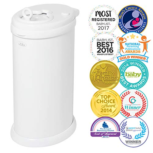 Contains 5 Refill Pads - Ubbi Steel Odor Locking, No Special Bag Required Money Saving, Awards-Winning, Modern Design, Registry Must-Have Diaper Pail, White