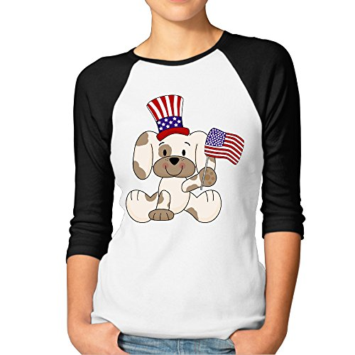 DonSir Dog With American Flag Women Essential Raglan Tshirt Black (Halloween Treats Philippines)