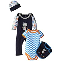 Hudson Baby Baby-Boys 4 Piece Clothing Set, Robot, 0-3 Months