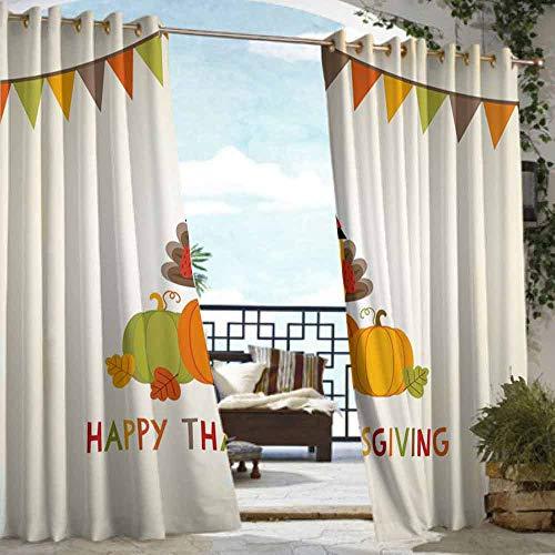 (DILITECK Outdoor Curtain Panel for Patio Turkey Little Bird Sitting on Pumpkins with Pilgrims Hat Festive Autumn Holiday Design Energy Efficient, Room Darkening W84 xL72 Multicolor)