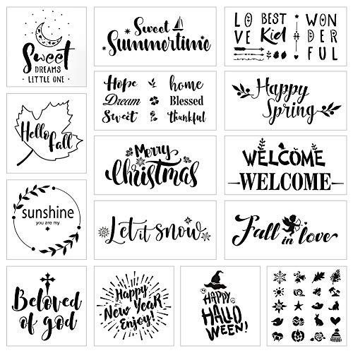 Koogel 15pcs Stencils for Painting on Wood,Welcome Stenclis for Signs Painting Stencils for Signs Welcome Stencil for Planner/Notebook/Diary/Notebook/Scrapbook/Graffiti/Card DIY Drawing Painting