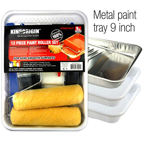 KINGORIGIN 12 Piece Professional The Whole Room,9 inch Paint Roller kit,Paint Rollers,Paint Roller,Paint Roller Cover,Home Repair Tools,Tools,Paint Rollers,Paint Brushes,Drop Cloth,Paint Roller Tray, ()