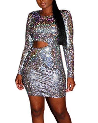 RARITYUS Women Sexy Holographic Dress Hologram Long Sleeves Mini Glitter Sequin Metallic Silver Bodycon Party Clubwear ()