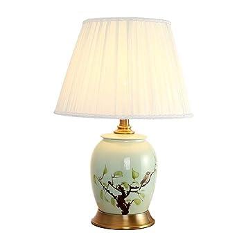 European Desk Lamp Copper Base And White Fabric Lamp Shade