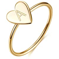 Memorjew 925 Sterling Silver Rings for Girls Women, Dainty Initial Heart Ring Stacking Ring Jewelry Gifts for Women…